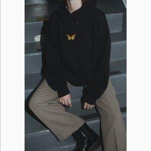 Brandy Melville Tien Butterfly Hoodie - black